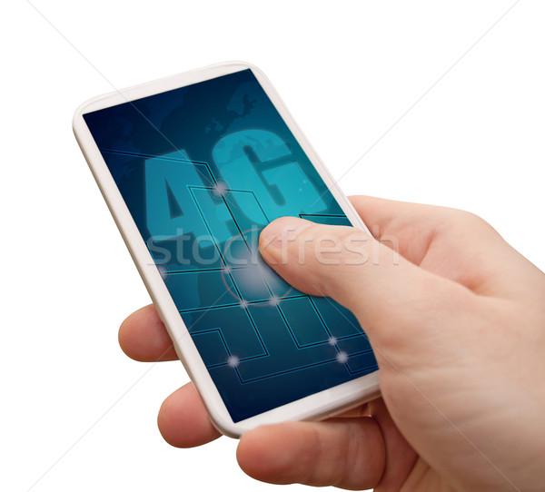4g mobil internet okostelefon kéz felirat Stock fotó © jamdesign