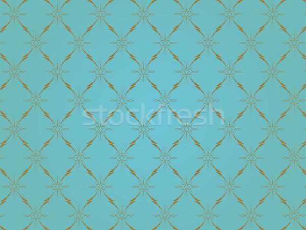Stock foto: Golden · Ornamente · blau · Wand · schwarz