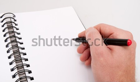 Stock photo: Open Notebook and Hand With Marker