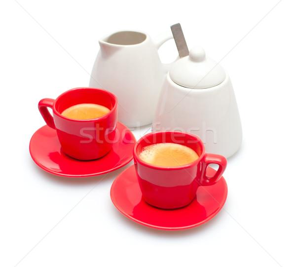 Espresso cafea roşu smântână oală zahăr Imagine de stoc © jamdesign