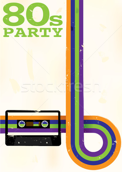 Retro poster 80s party flyer audio Foto d'archivio © jamdesign