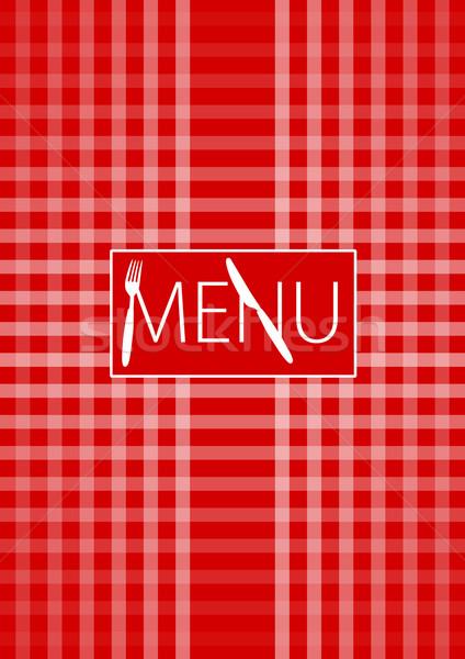 Menu Card - Red Gingham Stock photo © jamdesign