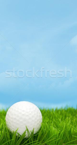 Сток-фото: мяч · для · гольфа · трава · Blue · Sky · облака · весны · спорт