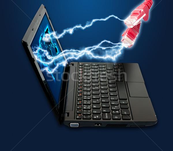 Internetu notebooka Ethernet kabli ciemne niebieski Zdjęcia stock © jamdesign