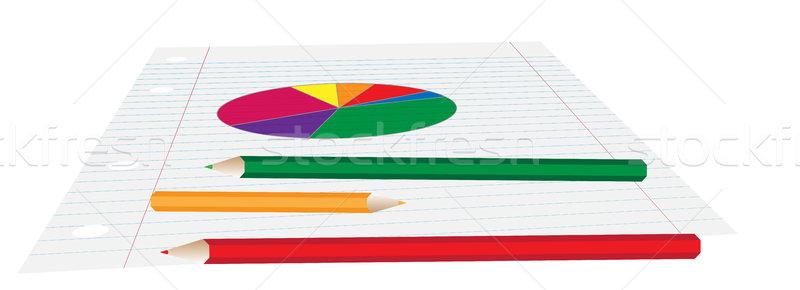Pie Chart on Paper Stock photo © jamdesign