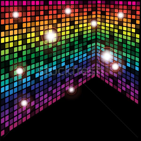 Abstrakten Würfel schwarz Rahmen Regenbogen Retro Stock foto © jamdesign
