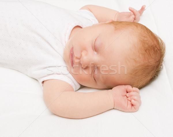 Schlafen neu geboren Baby weiß Bett Blatt Stock foto © jamdesign