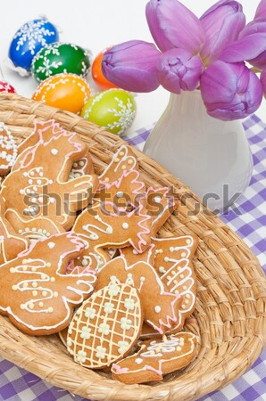 Stock photo: Easter Gingerbreads and Eggs
