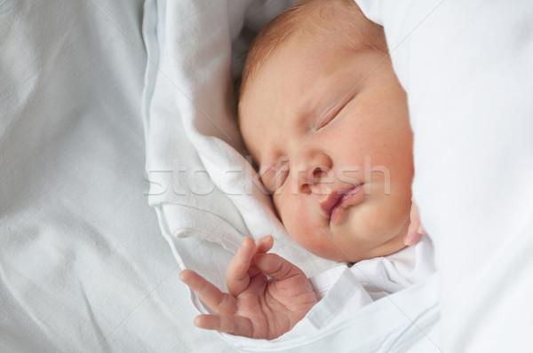 Neu geboren Baby schlafen Porträt Bett Stock foto © jamdesign