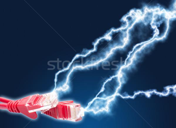 à grande vitesse internet rouge ethernet câbles foudre Photo stock © jamdesign