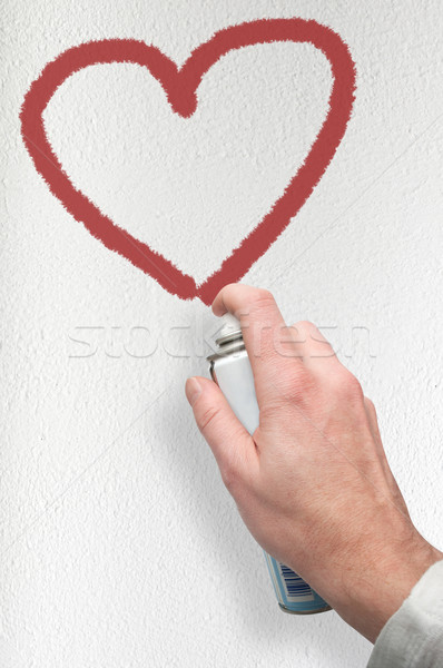 Saint valentin graffitis main peinture coeur symbole Photo stock © jamdesign