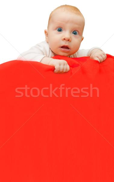Foto stock: Bebê · assinar · vermelho · cobertor · cópia · espaço