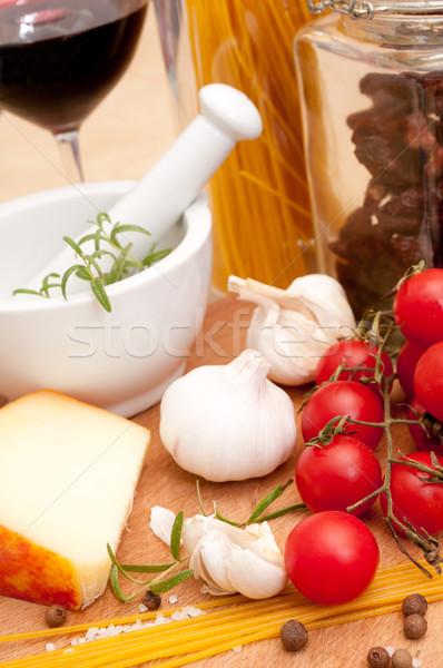 İtalyan mutfağı spagetti domates kurutulmuş peynir sarımsak Stok fotoğraf © jamdesign