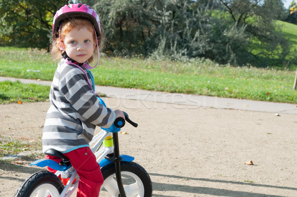 Kind Fahrrad Mädchen Herbst Park Stock foto © jamdesign