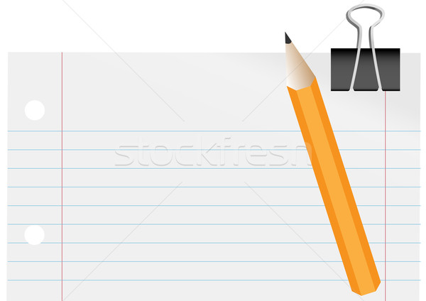 Blank Paper, Pencil and Paper Clip Stock photo © jamdesign