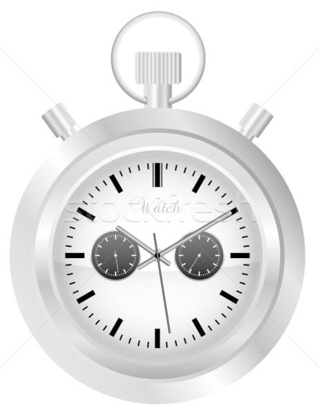 Reloj de bolsillo ilustración aislado blanco tiempo retro Foto stock © jamdesign