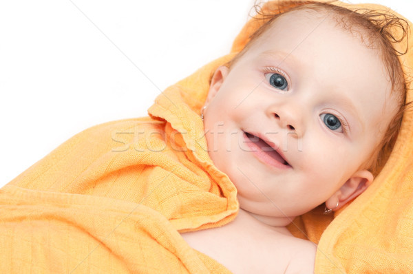 Baby Bad cute orange Handtuch Stock foto © jamdesign