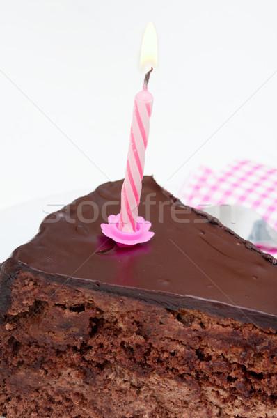 именинный торт шоколадом десерта сжигание свечу Сток-фото © jamdesign