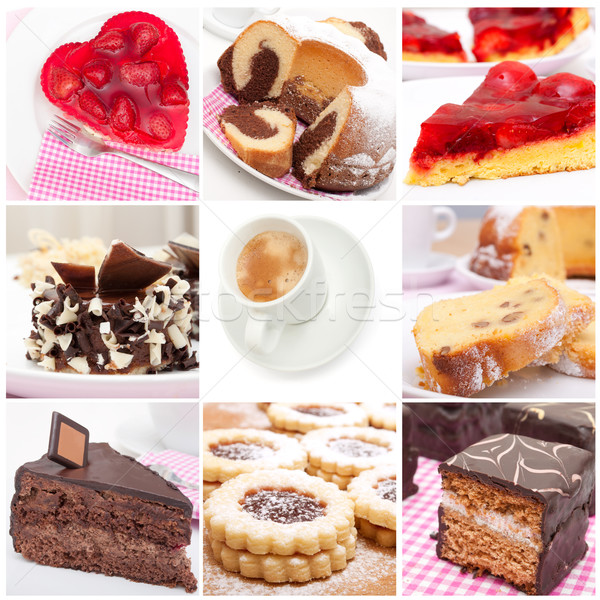 Desserts collage neuf tartes dessert Photo stock © jamdesign