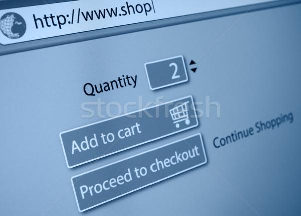 Zdjęcia stock: Zakupy · online · koszyka · przycisk · działalności · niebieski · ekranu