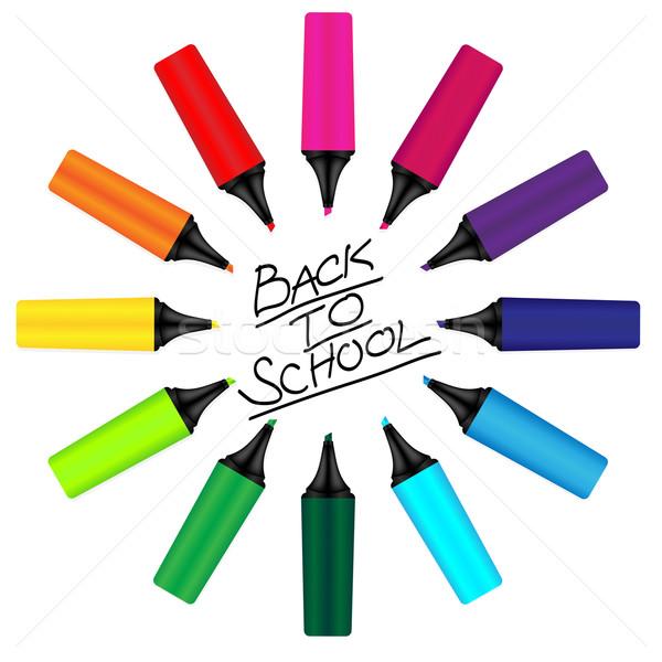 Signe couleur main école Photo stock © jamdesign