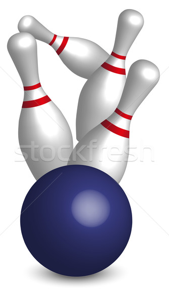 Bowling vier blau Ball weiß Vektor Stock foto © jamdesign