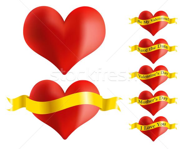 Rot Herz golden Band Illustration Set Stock foto © jamdesign