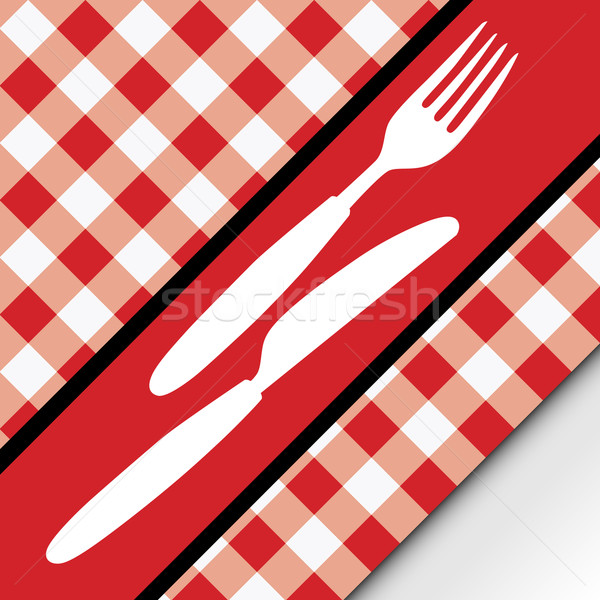 Red Gingham Menu Card Stock photo © jamdesign