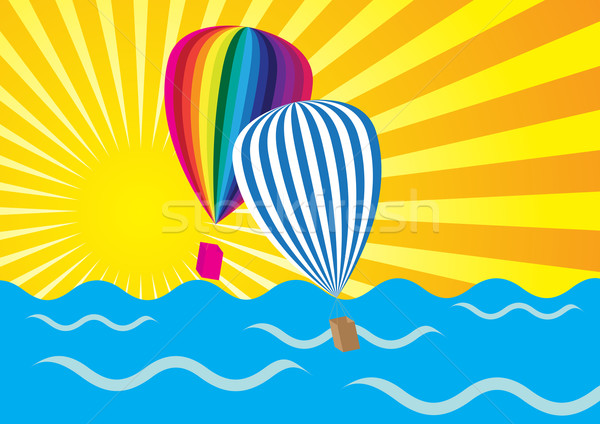 Sun Rays, Ocean and Hot Air Balloons Stock photo © jamdesign