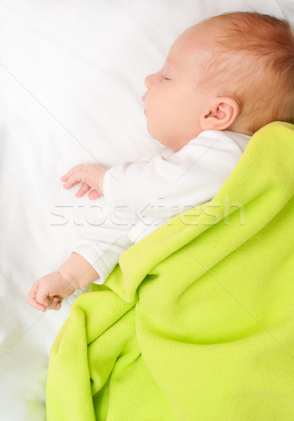 Dormir bébé vert couverture enfant Photo stock © jamdesign