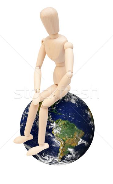 Stockfoto: Houten · marionet · wereldbol · vergadering · aarde · geïsoleerd