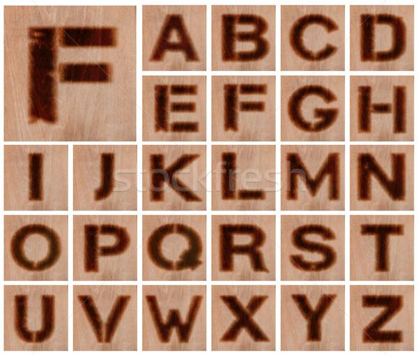 Burnt Wood Letters Stock photo © jamdesign