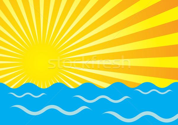 Lata streszczenie żółty słońce promienie ocean Zdjęcia stock © jamdesign