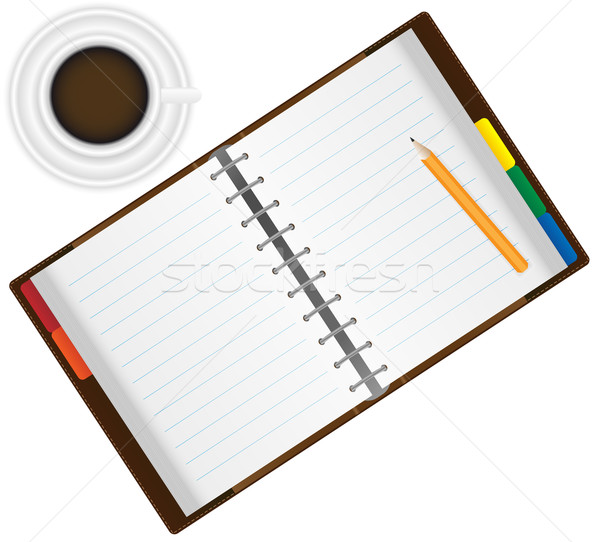 Organisator koffie Open notebook potlood espresso Stockfoto © jamdesign