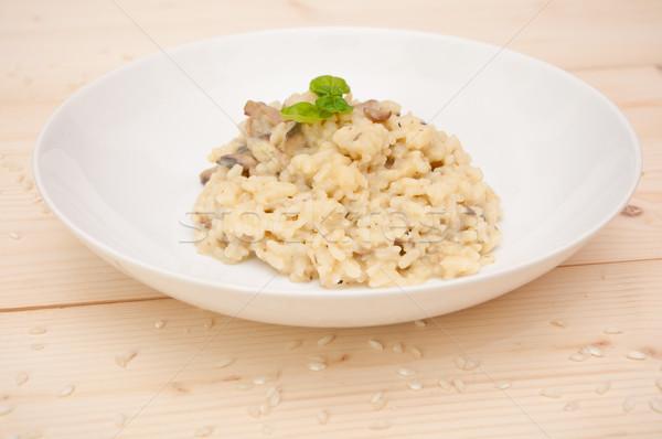 Risotto setas típico italiano tenedor arroz Foto stock © jamdesign