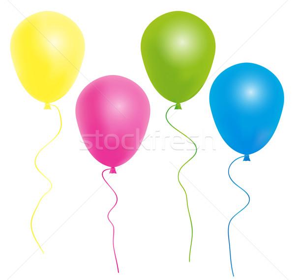 Ballonnen kleur lint geïsoleerd witte partij Stockfoto © jamdesign