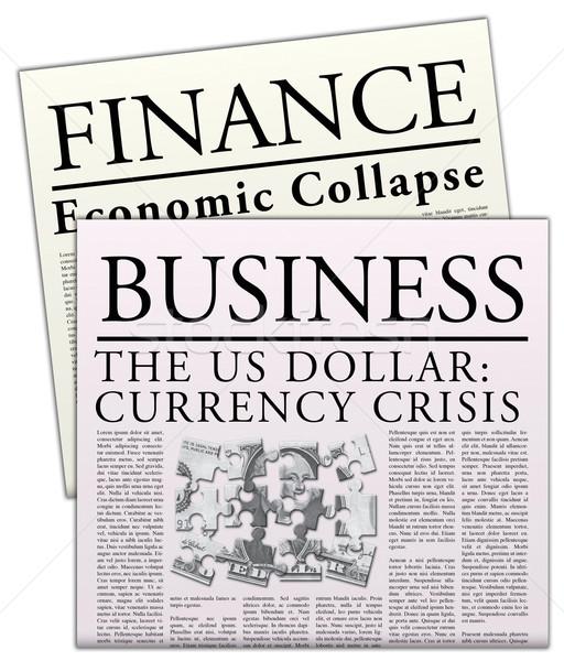Econômico jornal isolado jornal crise financeira papel Foto stock © jamdesign