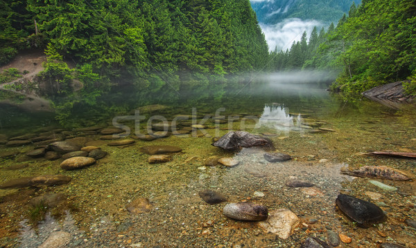 Clear Lake With Rocks and Mist in Distance Stock photo © jameswheeler
