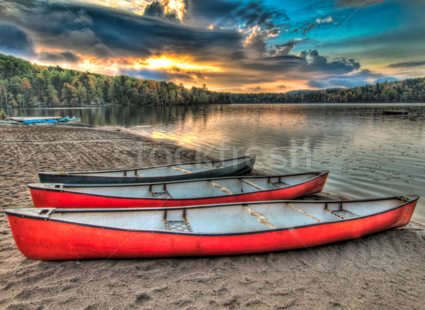Three Canoes Alongside A Lake Stock photo © jameswheeler
