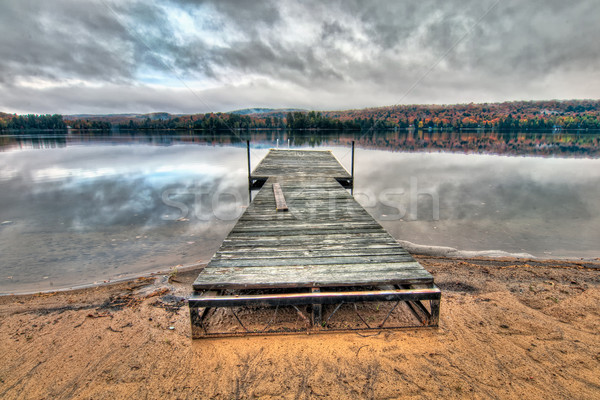 Dock On Lake With Dramatic Sky Reflection Stock photo © jameswheeler