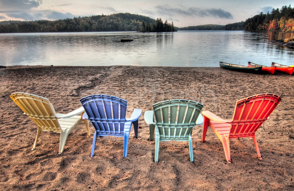 Four Patio Chairs Looking Over Lake Stock photo © jameswheeler