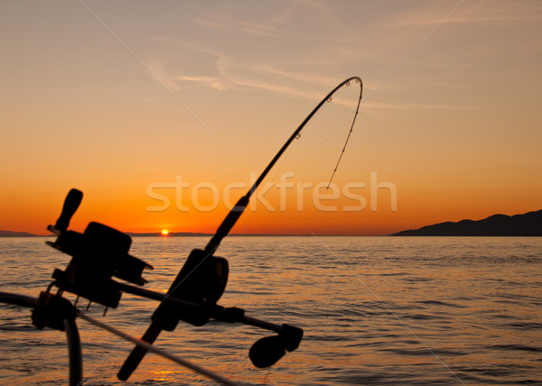 Down Rigging Fishing Rod At Sunset Stock photo © jameswheeler