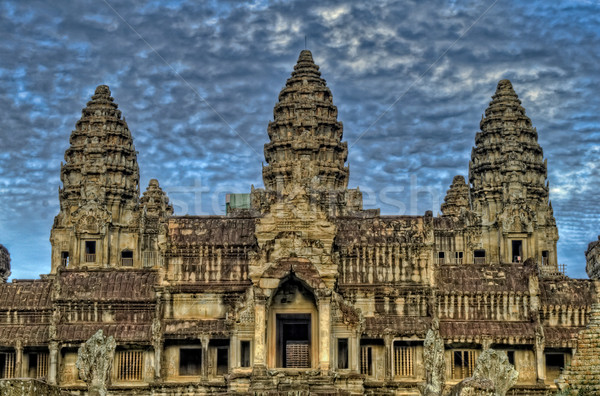 Angkor Wat Temple With Dramatic Clouds Stock photo © jameswheeler