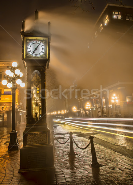 Gastown Steam Clock with Car Light Streaks Stock photo © jameswheeler