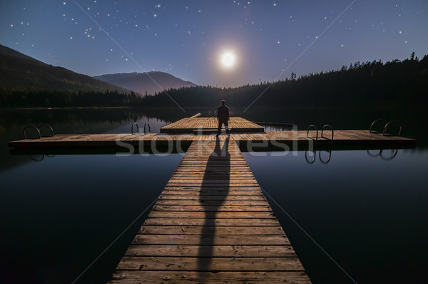 Man Looking At Moon on Dock in Whistler Stock photo © jameswheeler