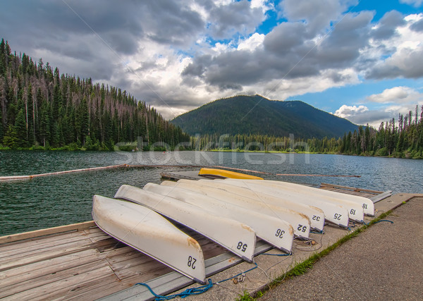 Numbered canoes on a lake dock Stock photo © jameswheeler