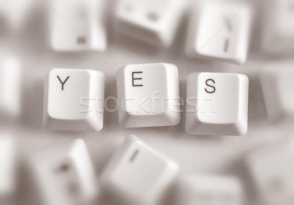 Ja computer sleutels woord laptop toetsenbord Stockfoto © janaka