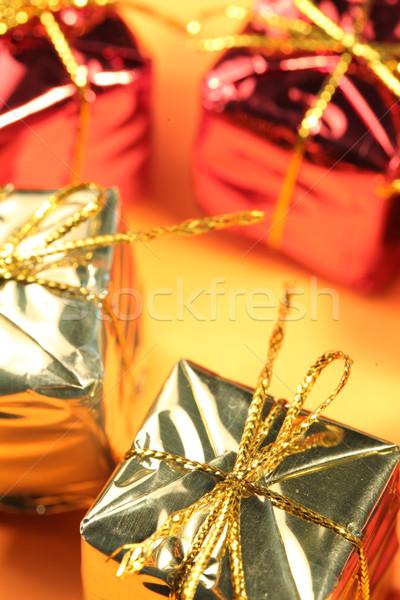 Caixa de presente tiro casamento ouro apresentar Foto stock © janaka