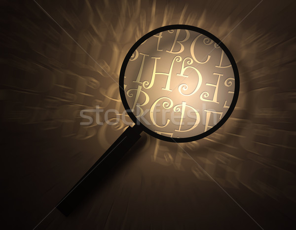 Magnifying glass with abstract text Stock photo © janaka