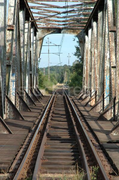 Vieux chemin de fer ville Pologne bois construction Photo stock © janhetman
